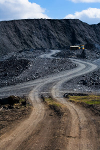 Dump of the coal mine and withmachine