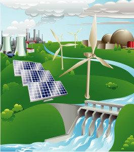Conceptual illustration showing many different types of power generation including nuclear fossil fuel wind power photo voltaic cells and hydro electric water power