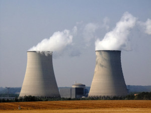 nuclear power station with cooling towers steam