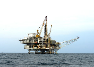 an off shore oil platform california coast